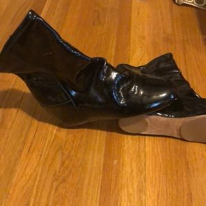 80%20 ankle patent leather black wedge boots . 8.5